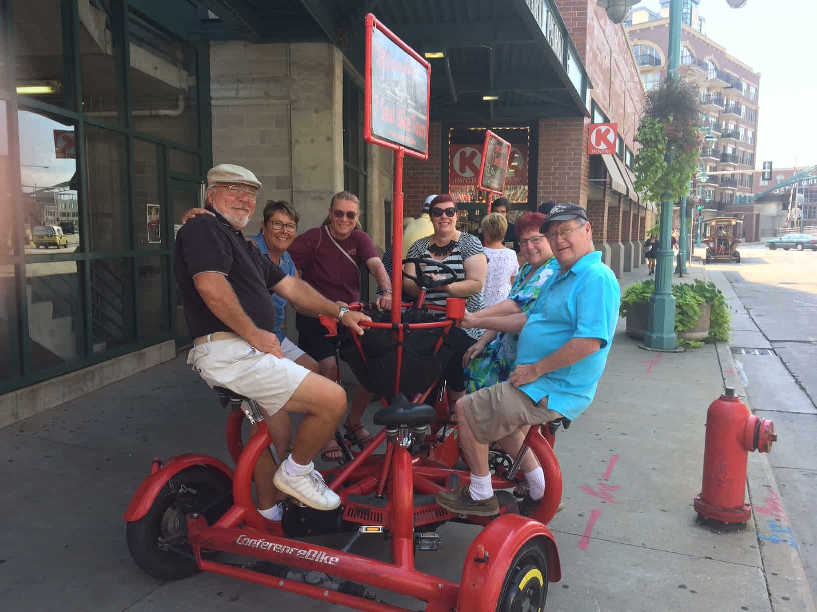 Milwaukee Seven Seat Bike Tours- at starting point on Chicago and water Streets