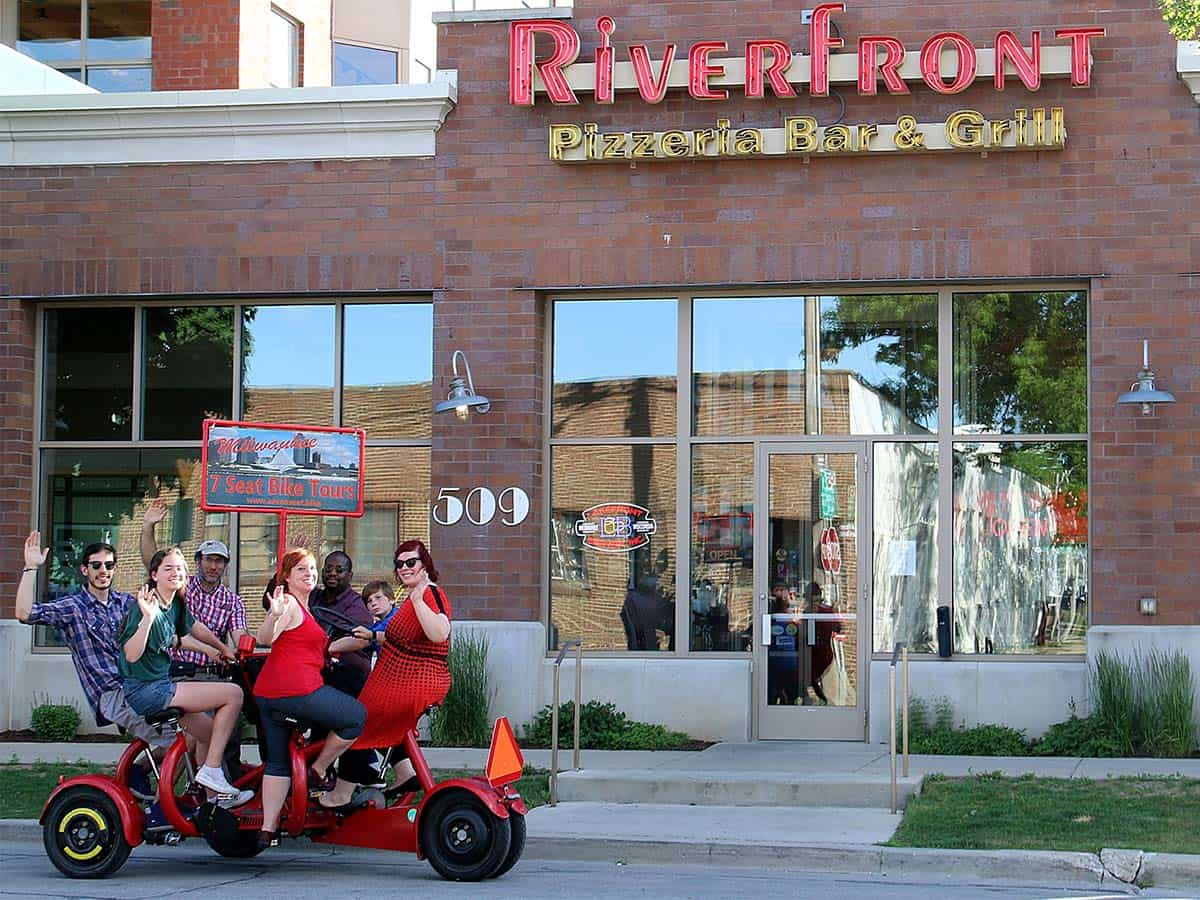 Milwaukee Seven Seat Bike Tours- riverfront bar and grill