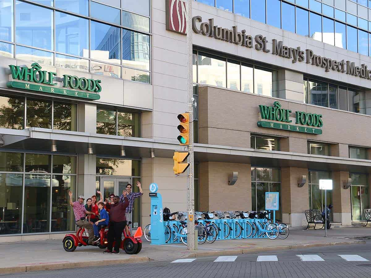 Milwaukee Seven Seat Bike Tours- East side tour at starting point by whole foods